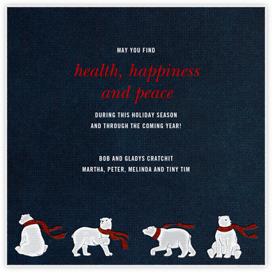 Four Bears with Scarves - Paperless Post - Holiday Cards