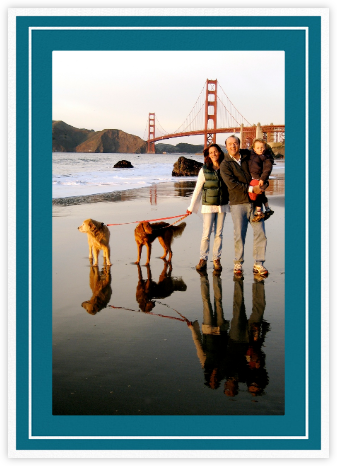 Double Border Photo (Tall) - Teal - Paperless Post - Holiday cards