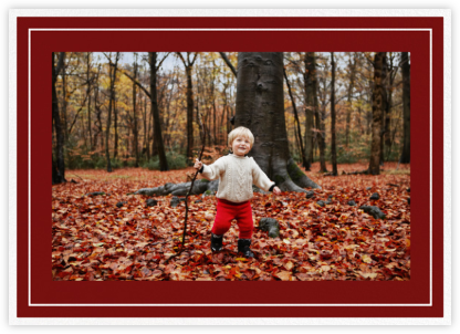 Double Border Photo (Horizontal) - Crimson/White - Paperless Post -