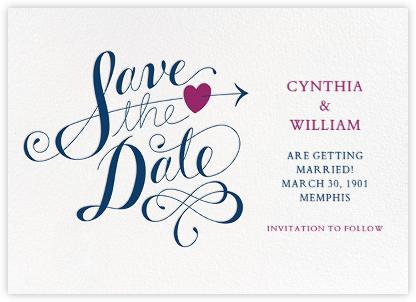 Script Heart - White/Dark Blue - Paperless Post - Save the dates