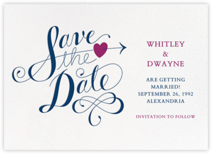Script Heart - White/Dark Blue - Paperless Post - Save the dates