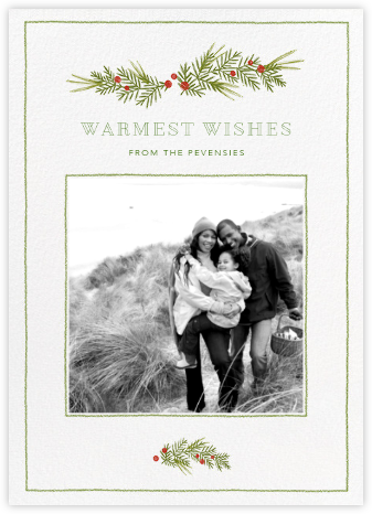 Little Boughs Flourish - White - Paperless Post - Christmas Cards