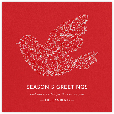 Vine Dove - Red - Paperless Post - Holiday cards