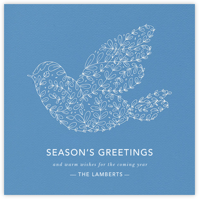 Vine Dove - Blue - Paperless Post - Company holiday cards