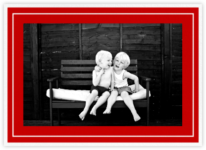 Double Border Photo (Horizontal) - Red - Paperless Post - Holiday cards