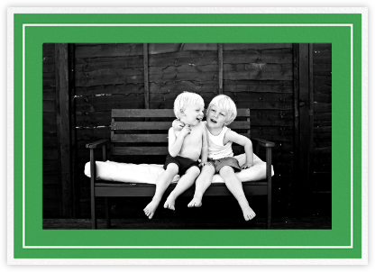 Double Border Photo (Horizontal) - Emerald - Paperless Post - Holiday cards