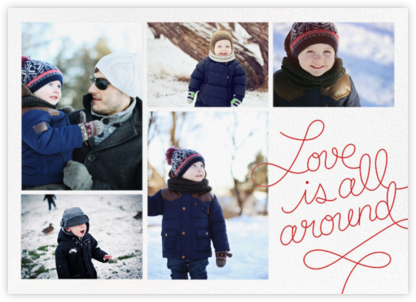 Love Is All Around - Red - Paperless Post - Holiday Cards
