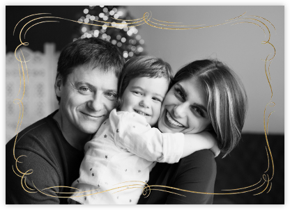 Plume (Horizontal Photo) - Gold - Paperless Post - Holiday cards
