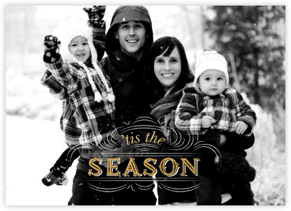 Seasonal Scroll (Full) - Gold - Paperless Post - Holiday Cards