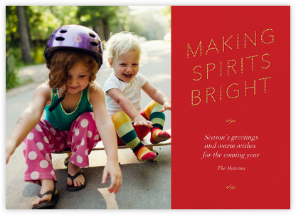 Bright Spirit Marquee - Red - Paperless Post - Holiday Cards