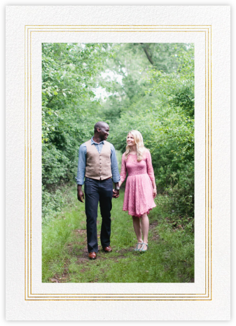 Triple Interior Border (Tall Photo) - Gold - Paperless Post - Photo save the dates