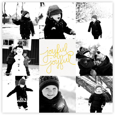 Happy Happy Joy Joy - Mustard - Paperless Post - Holiday Cards