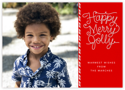 Happy Merry Jolly - White - Paperless Post - Holiday Cards