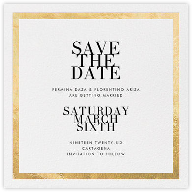 Editorial II (Save the Date) - White/Gold - Paperless Post - Gold and metallic save the dates