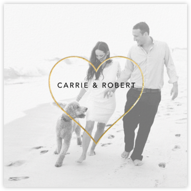 Heart Line (Photo) - Gold - Paperless Post - Wedding Save the Dates