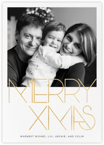Avant-Garde Christmas (Tall) - Gold - Paperless Post - Christmas Cards