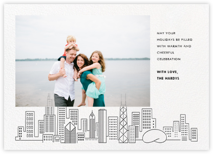 Chicago Skyline View (Photo) - Black - Paperless Post - Holiday Cards