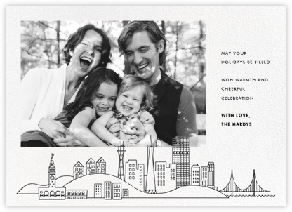San Francisco Skyline View (Photo) - White/Black - Paperless Post - Holiday Cards