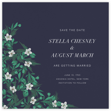 Snowrose Hedge (Save the Date) - Navy - Paperless Post - Save the dates