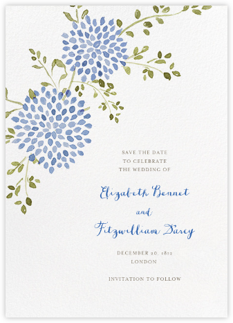 Dahlias (Tall Save the Date) - Blue - Paperless Post - Save the dates