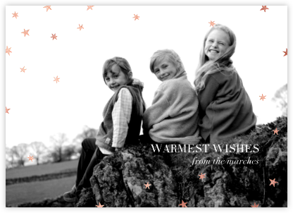 Nightly (Photo) - Navy/Rose Gold - Paperless Post - Holiday Cards