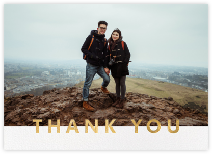 Field of Thanks Photo (Double-Sided) - Gold - Paperless Post - Greeting cards