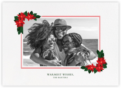 Poinsettia Flourish (Horizontal) - Paperless Post - Holiday Cards