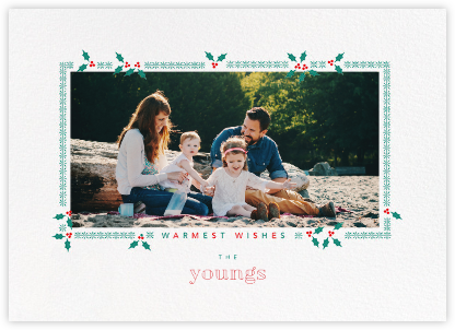 Boughs of Holly (Horizontal) - Paperless Post - Holiday Photo Cards
