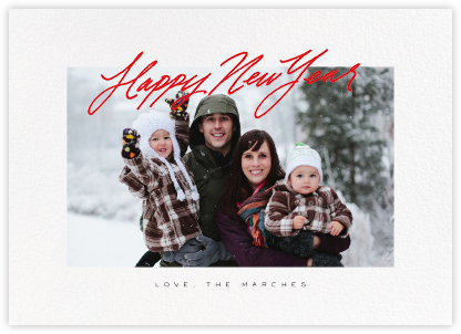 Inscribed New Year (Horizontal) - Red - Paperless Post - New Year Cards