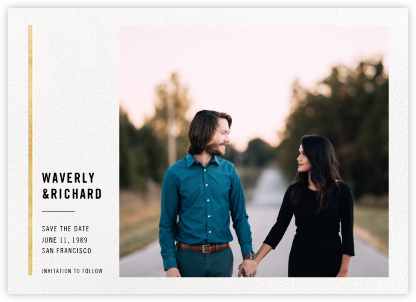 Carreaux - White/Gold - Paperless Post - Photo save the dates