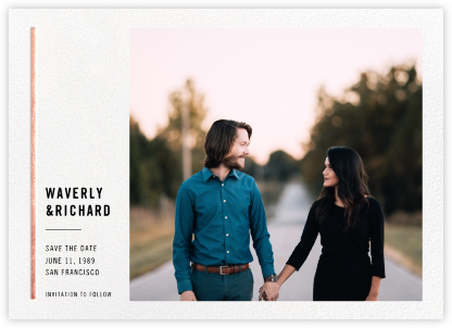 Carreaux - White/Rose Gold - Paperless Post - Photo save the dates