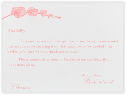 Orchid - Ivory with Blossom (Thank You) - Paperless Post -