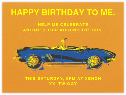 Top Down Chrome Spinning - Paperless Post - Adult Birthday Invitations