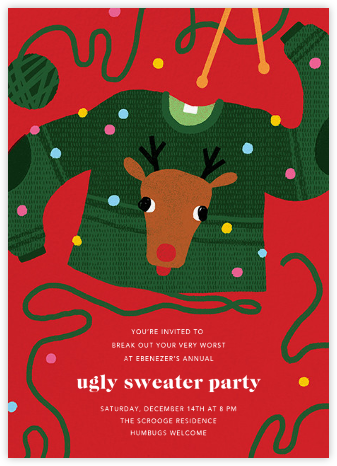 Red-Nosed Knitter - Paperless Post - Holiday party invitations