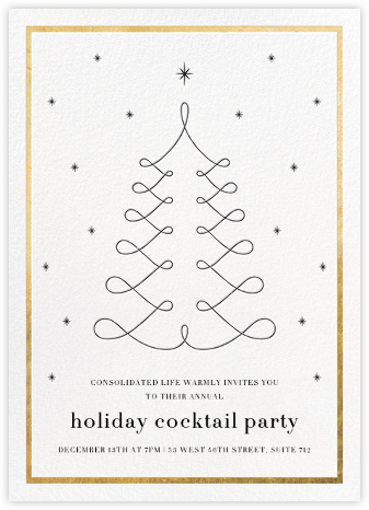 Curlicue Christmas - White/Gold - Paperless Post - Business Party Invitations