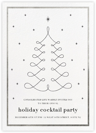 Curlicue Christmas - White/Silver - Paperless Post - Holiday invitations