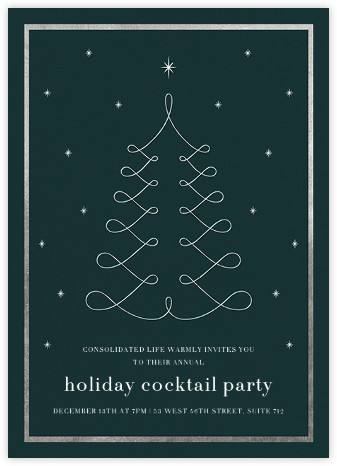 Curlicue Christmas - Spruce/Silver - Paperless Post - Holiday invitations