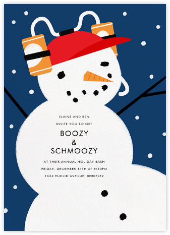 Frat Boy Snowman - Paperless Post - Winter Party Invitations