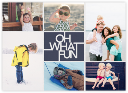 Fun Lines (Multi-Photo) - Navy - Paperless Post - Holiday photo cards