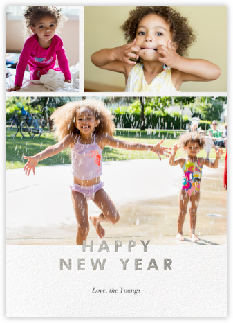 New Year Cutouts (Tall Multi-Photo) - Silver - Paperless Post -