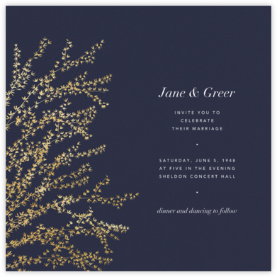 Forsythia - Navy/Gold - Paperless Post - Wedding Invitations