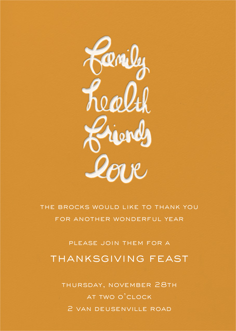 Family, Health, Friends, Love - Linda and Harriett - Thanksgiving invitations