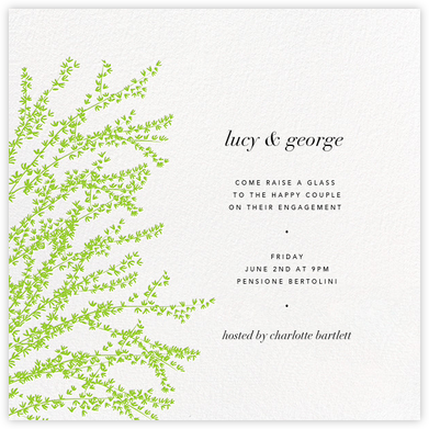 Forsythia (Green) - Paperless Post - Engagement party invitations