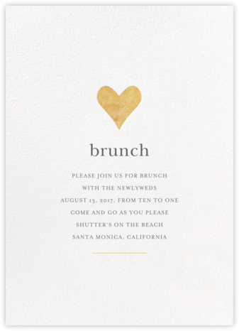 Luminous Heart - White/Gold - Sugar Paper - Brunch invitations