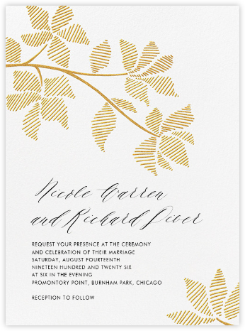 Rio Novo (Invitation) - Gold - Crane & Co. - Rustic wedding invitations