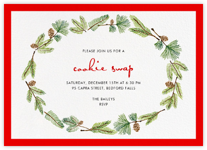Delicate Firs (Horizontal) - Paperless Post - Holiday invitations