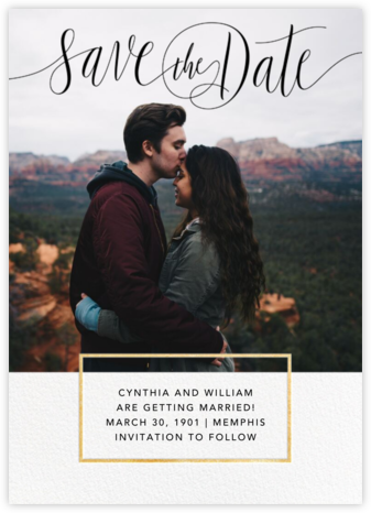 Saint-Preux (Photo) - Black/Gold - Paperless Post - Modern save the dates