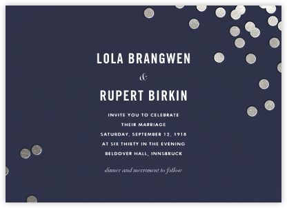 Confetti (Horizontal Invitation) - Navy/Silver - kate spade new york - Wedding Invitations