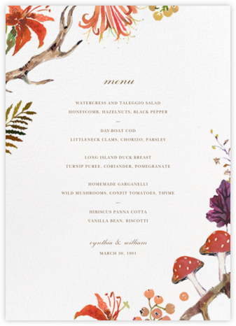 Autumn Harvest (Menu) - Happy Menocal - Wedding menus and programs - available in paper