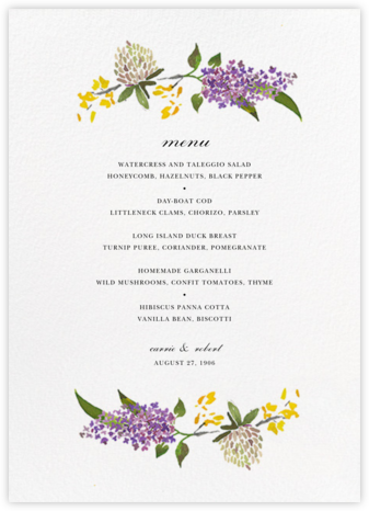 Spring Florets (Menu) - Happy Menocal - Wedding menus and programs - available in paper